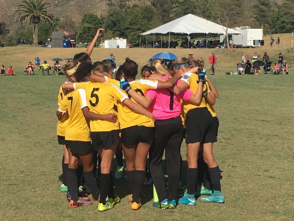 Beach FC G05 Perez team huddle club soccer southern california