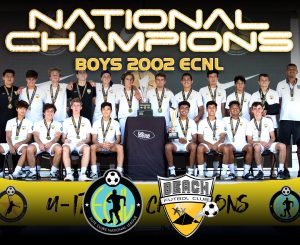team photo Beach FC Boys 2002 ECNL national champions 2019
