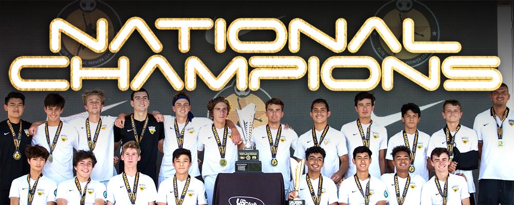 beach fc boys ecnl 2002 team photo with national champions text