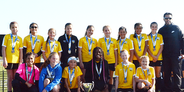 Podium picture of Beach FC LB G06 Soler girls club soccer champions socal winter cup