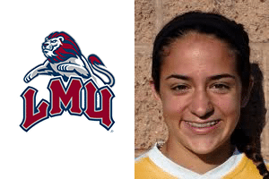 LMU logo and headshot of Makayla Demelo Beach FC club soccer player and LMU soccer commit