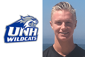 head shot and university logo beach fc club soccer boys player luke madden verbal commitment new hampshire