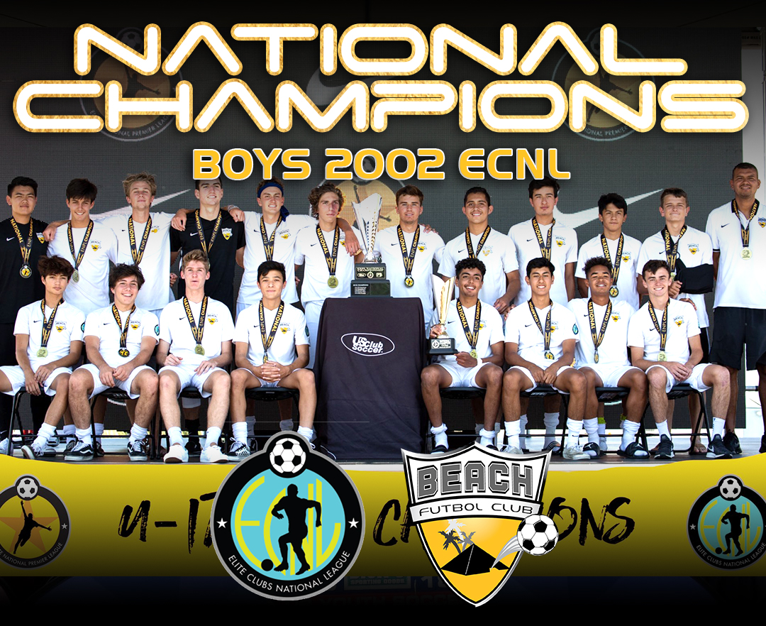 team photo Beach FC Boys 2002 ECNL national champions 2019