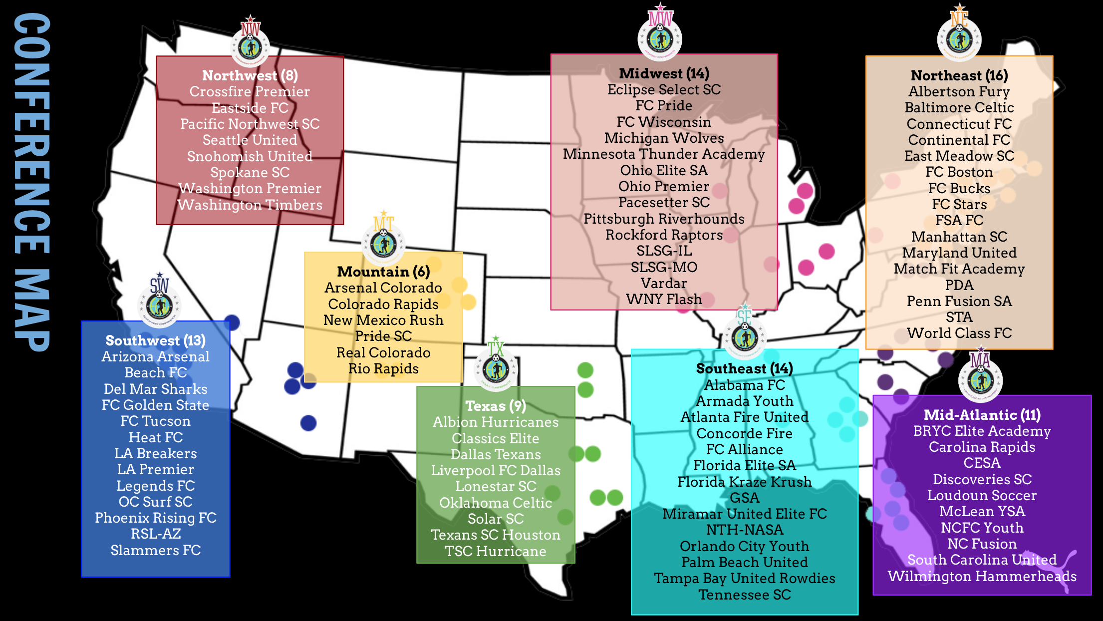 Boys ECNL conference map 2019